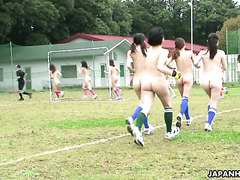 Curvy soccer player gets her hairy Japanese cunt fucked by coaches