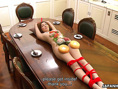 Human food plate Yuna Hirose is licked and fingered after dinner