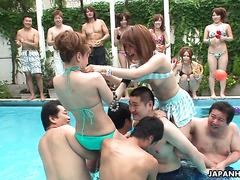 Japanese pool party with chicken fighting and orgasms