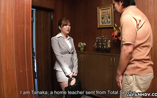 Thick Japanese tutor Sae squirts hard on nerd's cock
