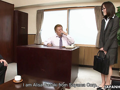 Desperate office girl Arisa Suzuki seduces bosses to keep her job