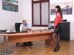 Leggy secretary Heather Harris spreads legs on boss's desk