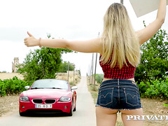 Russian hitchhiker Selvaggia takes a ride on BMW and big cock