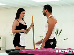 Cute Russian maid Cassie Fire gets anally seduced by masseur