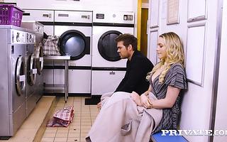 Babe Mia Malkova fucks perfect stranger at the laundry
