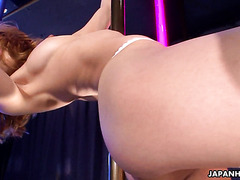 Tight and flexible Asian babe Sally Yoshino gives striptease