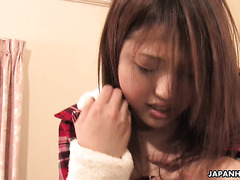Jap nympho Rino Mizusawa squirts and takes it up her hairy pussy