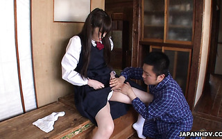 Submissive Asian Ai Uehara gets licked and stuffed with cucumber