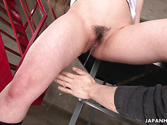 College cutie Ria Sakurai is facesitting coed and pees in his hands