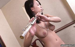Busty flute player Yayoi Yanagida squirts heavily