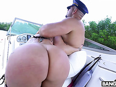 Huge assed Ryan Conner does anal with a captain on a boat