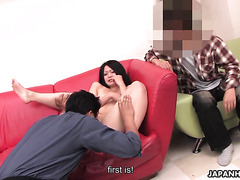 Hairy Japanese gf gets fucked in front of cuckold