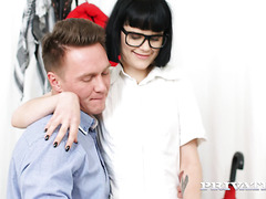 Skinny young nerd Rita Lee gets her Russian puss porked