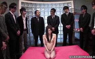 Hairy JAV Rina Serizawa in gangbang and bukkake with ten guys