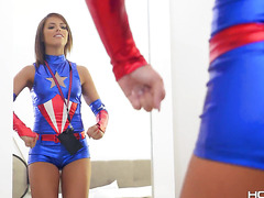 Captain whore Adriana Chechik deepthroat dick from her loose ass