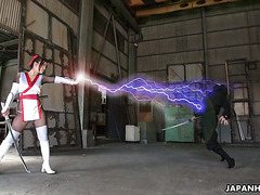 Ninjas from hell interrogate Asian super girl Ria Sakurai