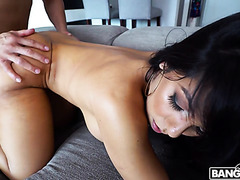 Rose Monroe gets creampie after bouncing her big ass on boner