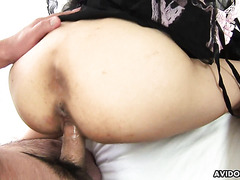 Skinny as fuck Hina Wakaba gets her muff creampied in 3way