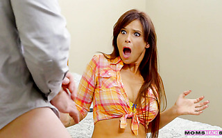 Stepmother Syren De Mer spanks stepson, but only makes him horny