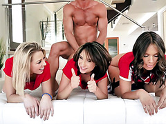 Three smoking hot girls gets doggystyled in a reverse gangbang!