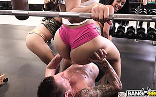 Orgy at the GYM with three asstastic porn babes