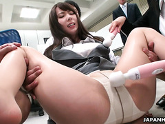 Yui Hatano is a hot cum dumpster for nasty coworkers