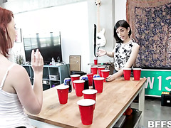 Sorority girls play beerpong and get dick in reverse gangbang