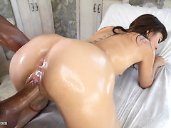 Riley Reid, skinny hairy girl, oils herself before dicking