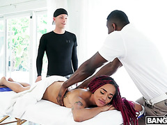 Black whore wife Julie Kay cheats with black masseur