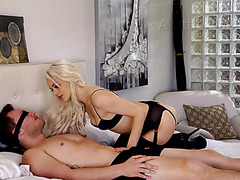 Elsa Jean, glamorous blondie, makes love with blindfolded boy