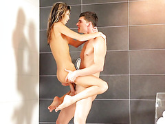 Thumbelina Gina Gerson makes love with well hung boy in shower