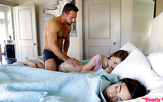 Stepdaughter Whitney Wright and her bff Alex Blake are fucked by stepdad