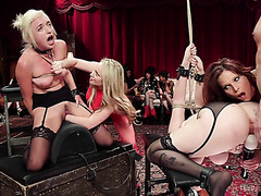 Cruel fisting on BDSM party in front of perverts