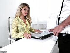 Boss lady Mary Kalisy treats subordinate with her hairy pussy