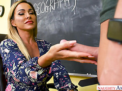 Cougar teacher Aubrey Black is fed with student's cum