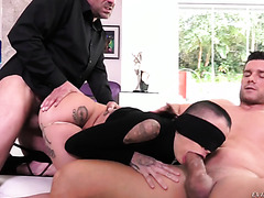 Bald chick Leigh Raven is manhandled, DPed, and fed with cum