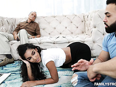Latina Claire Black seduces stepdad's black friend