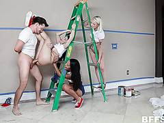 Stand-and-carry fuck on a ladder with three teens in reverse gangbang