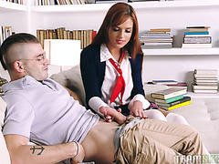 Dumb redhead Scarlett Mae lets college nerd smash her for test answers