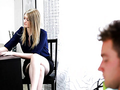 Secretary Summer Carter teases boss with upskirt and fucks him brazenly