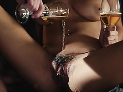 Autumn Falls gets her champagne flavored hairy pussy fucked to nirvana