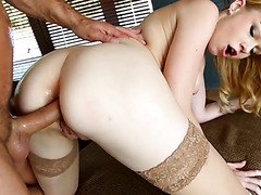 Porcelain-white ass of Rebecca Black is sodomized and creampied