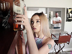 Petite Lexi Lore is punished by stepdad for touching his liquor
