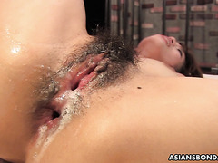 Yui Shimizu's Asian beaver takes double creampie after DP