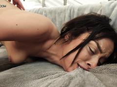 Exotic babe Maya Bijou reaches eight body-shaking orgasms
