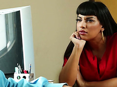 Curvaceous Latina Mercedes Carrera fucks an interviewee in the office