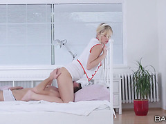 Busty blonde girl in sexy nurse uniform gets fucked in the ass