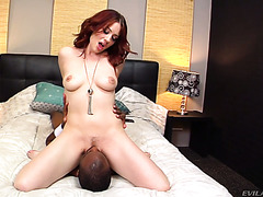 Redhead Jessica Ryan sits on Black man's face and strokes his BBC