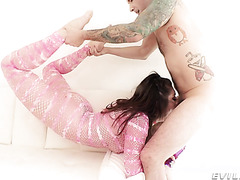 Keira Croft is deepthroated to puking and manhandled anally
