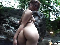 Outdoor onsen fuck with adorable Japanese babe Saori Ono